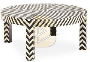 Bone Inlay Chevron Design Black Coffee Tables