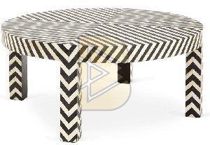Bone Inlay Chevron Design Black Coffee Tables
