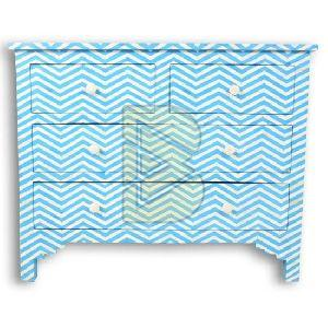 Bone Inlay Chevron Design Blue Chest of Four Drawer