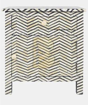Bone Inlay Chevron Design Dove Gray Bedside Tables