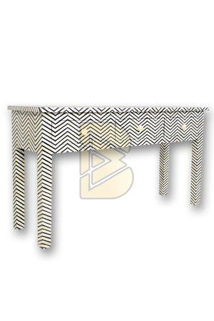 Bone Inlay 3 Drawer Chevron Design Dove Gray Console Table 01