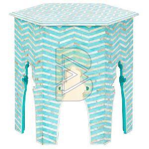 Bone Inlay Chevron Design Hexagonal Turquoise Blue End & Side Table