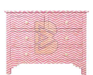 Bone Inlay Chevron Design Pink Chest of Four Drawers
