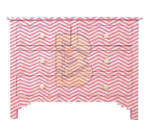 Bone Inlay Chevron Design Pink Chest of Four Drawer 01