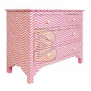 Bone Inlay Chevron Design Pink Chest of Four Drawer 02