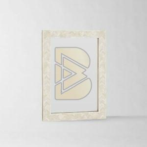 Bone Inlay Chevron Design White Mirror