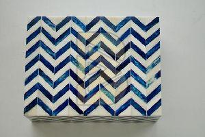 Bone Inlay Chevron Floral Design Blue Box