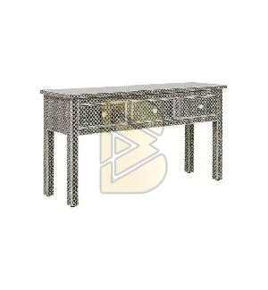 Bone Inlay 3 Drawer Fish scale Design Black Console Table