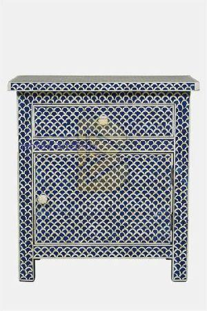Bone Inlay Fish Scale Design Blue Bedside Tables