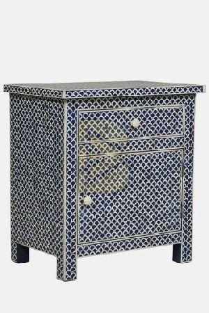 Bone Inlay Fish Scale Design Blue Bedside Table 02