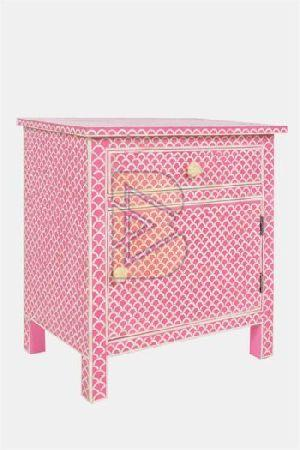 Bone Inlay Fish Scale Design Pink Bedside Table