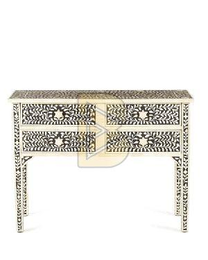 Bone Inlay 4 Drawer Floral Design Black and Ivory Console Tables