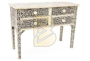 Bone Inlay Floral Design Black and Ivory With 4 Drawers Console Table 02