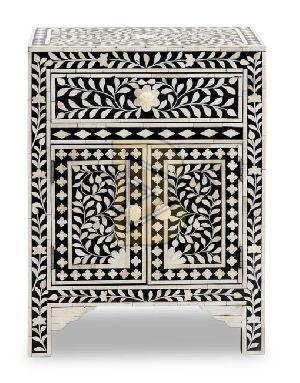 Bone Inlay Floral Design Black Bedside Tables
