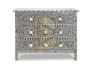 Bone Inlay Floral Design Black Chest of Four Drawer