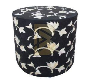 Bone Inlay Floral Design Black Drum Shaped End Table 02