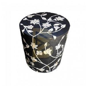 Bone Inlay Floral Design Black Drum Shaped End Tables