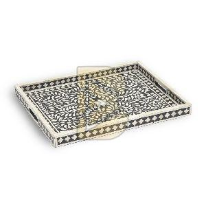 Bone Inlay Floral Design Black Tray