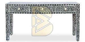 Bone Inlay 3 Drawer Floral Design Black Console Table