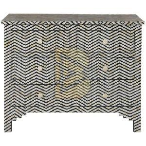 Bone Inlay Floral Design Black ZIg Zag Chest of Four Drawers
