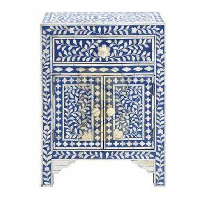 Bone Inlay Floral Design Blue Bedside Tables