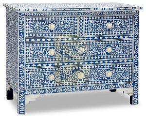 Bone Inlay Floral Design Blue Chest of Four Drawer