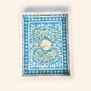 Bone Inlay Floral Design Blue Tray