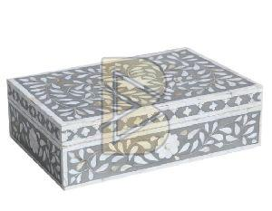 Bone Inlay Floral Design Gray Boxes
