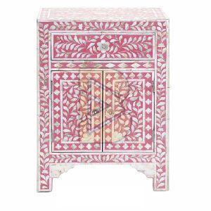 Bone Inlay Floral Design Pink Bedside Table 01