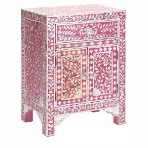 Bone Inlay Floral Design Pink Bedside Table 02