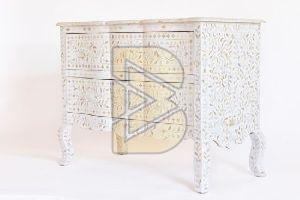 Bone Inlay Floral Design Tiger legs White Chest of Two Drawers