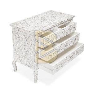 Bone Inlay Floral Design Tiger legs White Chest of Two Drawer 02