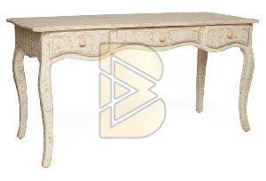 Bone Inlay Floral Design Tiger Leg White Console Table