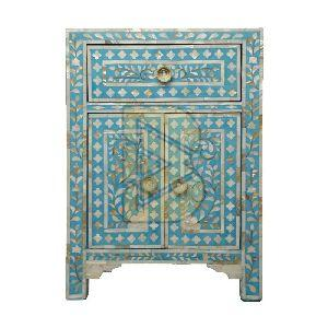 Bone Inlay Floral Design Turquoise Blue Bedside Tables