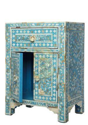 Bone Inlay Floral Design Turquoise Blue Bedside / Nightstand 02