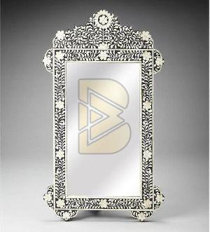 Bone Inlay Floral Design Upper Arch Black Mirror