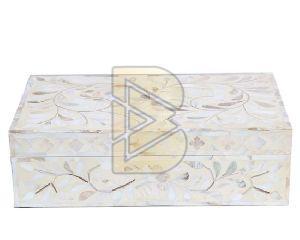 Bone Inlay Floral Design White Box 01