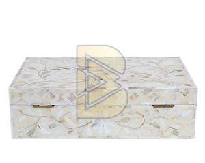 Bone Inlay Floral Design White Box 02
