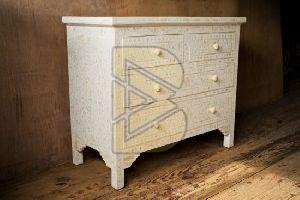 Bone Inlay Floral Design White Chest of Four Drawer 01