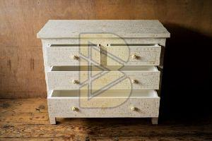 Bone Inlay Floral Design White Chest of Four Drawer 02