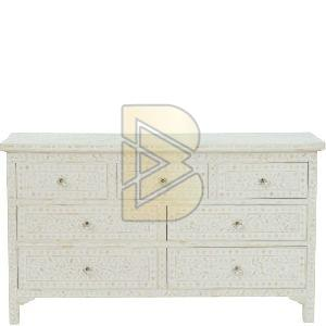 Bone Inlay Floral Design White Chest of Seven Drawers