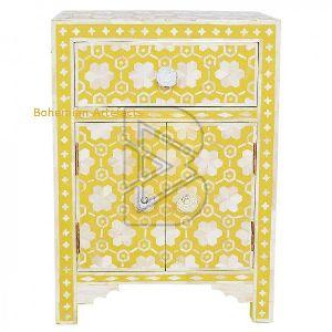 Bone Inlay Flower Design Mustard Bedside Table 01