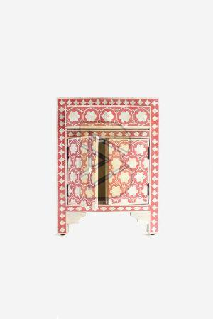 Bone Inlay Flower Design Pink Bedside Tables