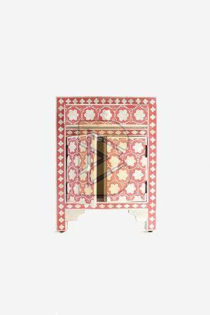 Bone Inlay Flower Design Pink Bedside Table 01