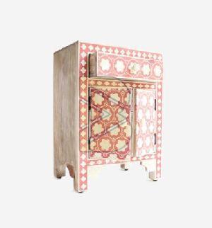 Bone Inlay Flower Design Pink Bedside Table 02