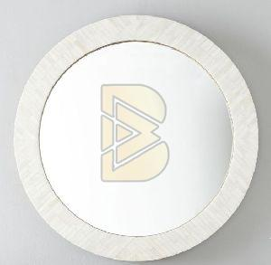Bone Inlay Full Bone Round White Mirror