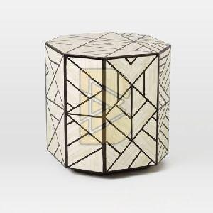 Bone Inlay Full Geometric Design White End & Side Tables
