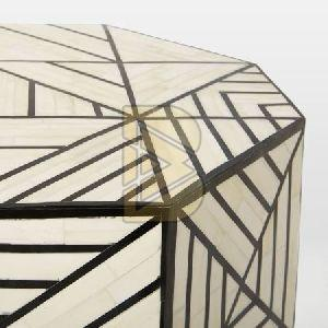 Bone Inlay Full Geometric Design White End & Side Table 02