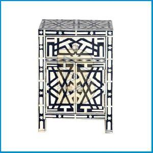 Bone Inlay Geometric Design Black Bedside Table