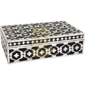 Bone Inlay Geometric Design Black Box